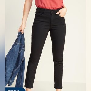 Old Navy High Rise Power Straight Black Jeans